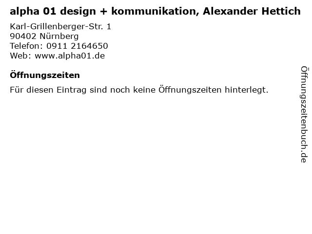 alpha 01 design + kommunikation, Alexander Hettich in Nürnberg: Adresse und Öffnungszeiten