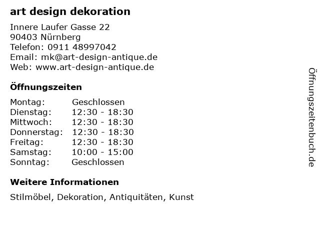 art design dekoration in Nürnberg: Adresse und Öffnungszeiten