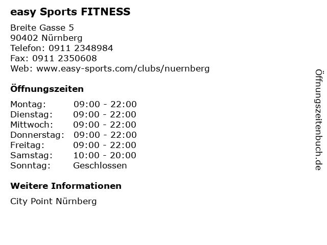 easy Sports FITNESS in Nürnberg: Adresse und Öffnungszeiten