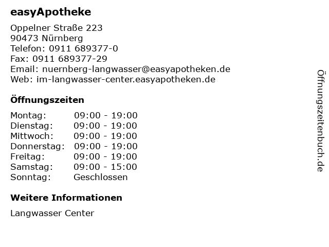 easyApotheke im Langwasser Center in Nürnberg: Adresse und Öffnungszeiten