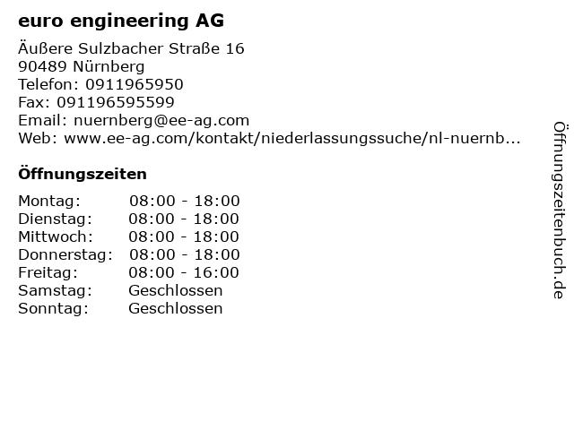 euro engineering AG in Nürnberg: Adresse und Öffnungszeiten