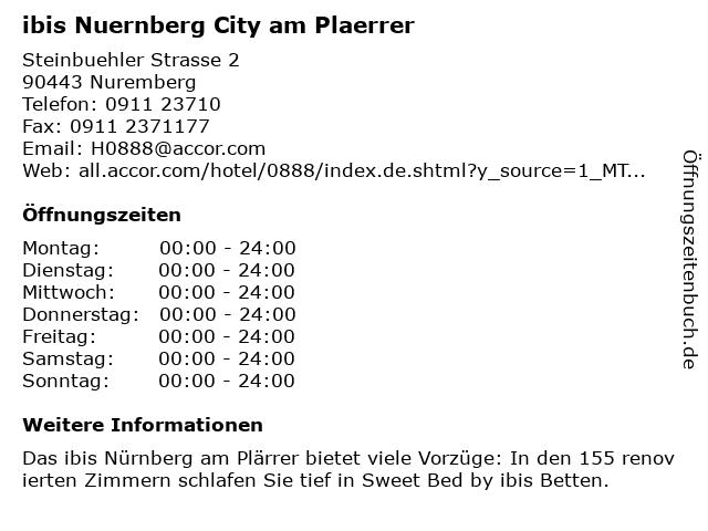 ibis Nuernberg City am Plaerrer in Nuernberg: Adresse und Öffnungszeiten