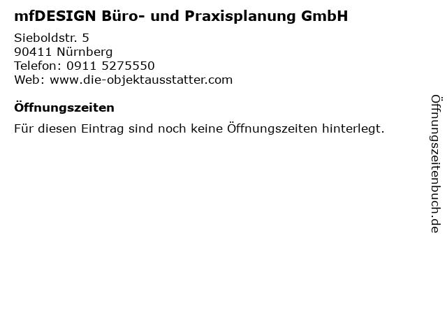 mfDESIGN Büro- und Praxisplanung GmbH in Nürnberg: Adresse und Öffnungszeiten