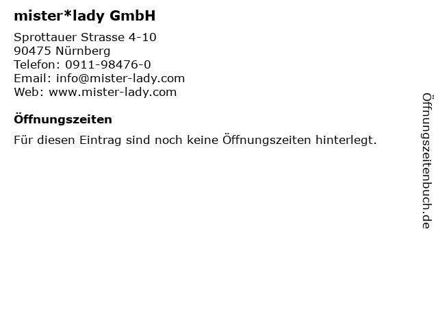 mister*lady GmbH in Nürnberg: Adresse und Öffnungszeiten