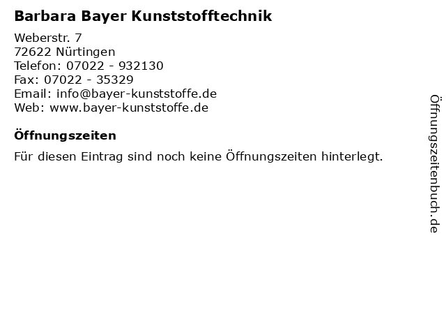Barbara Bayer Kunststofftechnik in Nürtingen: Adresse und Öffnungszeiten