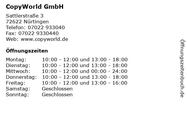 ᐅ öffnungszeiten Copyworld Gmbh Sattlerstraße 3 In
