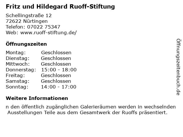 Fritz und Hildegard Ruoff-Stiftung in Nürtingen: Adresse und Öffnungszeiten