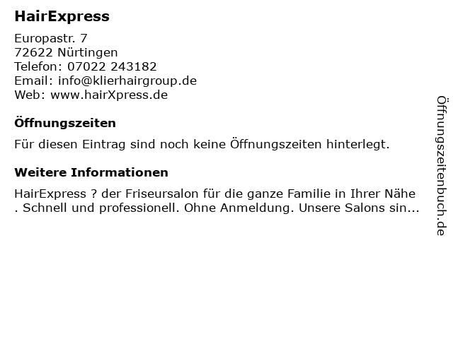 HairExpress in Nürtingen: Adresse und Öffnungszeiten