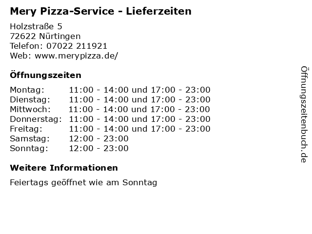 Mery Pizza-Service - Lieferzeiten in Nürtingen: Adresse und Öffnungszeiten