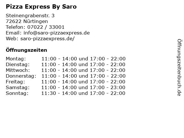 Pizza Express By Saro in Nürtingen: Adresse und Öffnungszeiten