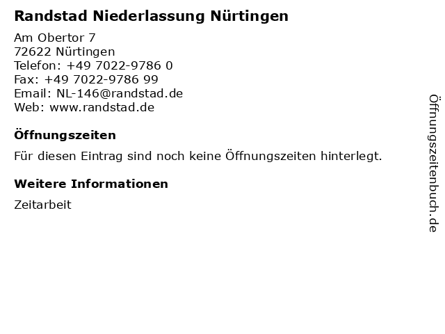Randstad Niederlassung Nürtingen in Nürtingen: Adresse und Öffnungszeiten