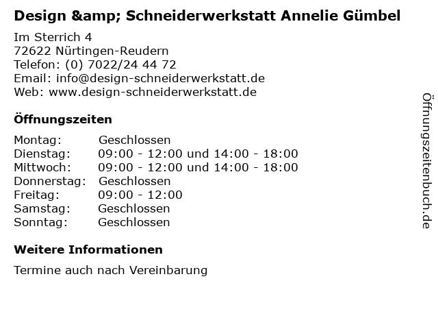 Design & Schneiderwerkstatt Annelie Gümbel in Nürtingen-Reudern: Adresse und Öffnungszeiten