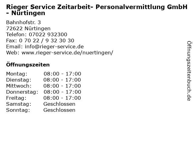 Rieger Service Zeitarbeit- Personalvermittlung GmbH - Nürtingen in Nürtingen: Adresse und Öffnungszeiten