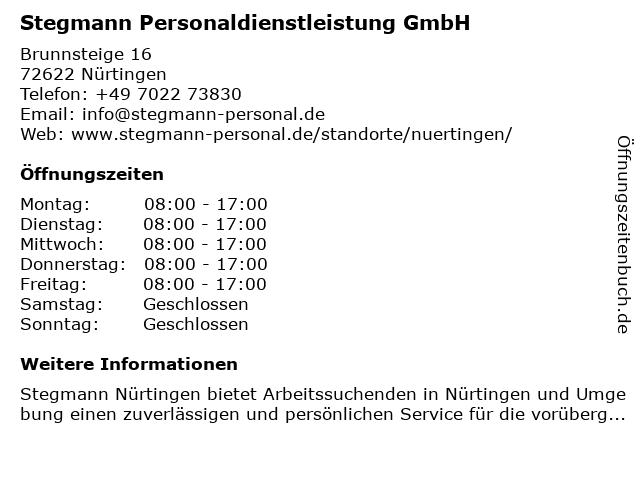Stegmann Personaldienstleistung GmbH in Nürtingen: Adresse und Öffnungszeiten