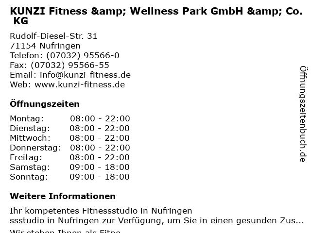 KUNZI Fitness & Wellness Park in Nufringen: Adresse und Öffnungszeiten