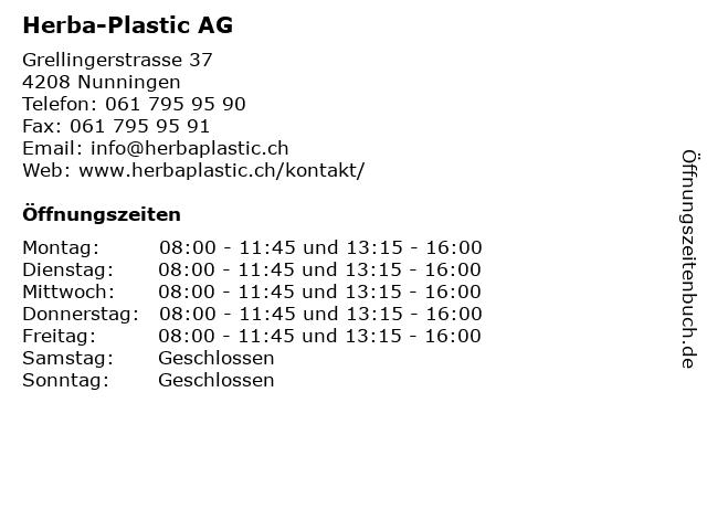 Herba-Plastic AG in Nunningen: Adresse und Öffnungszeiten