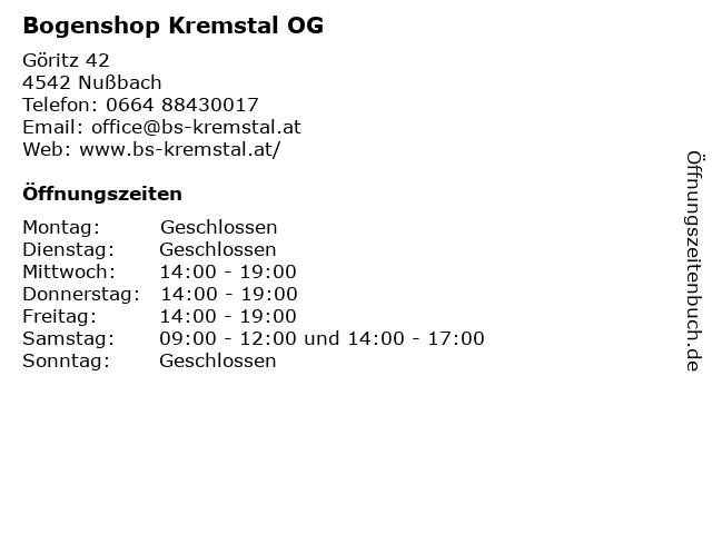 Bogenshop Kremstal OG in Nußbach: Adresse und Öffnungszeiten