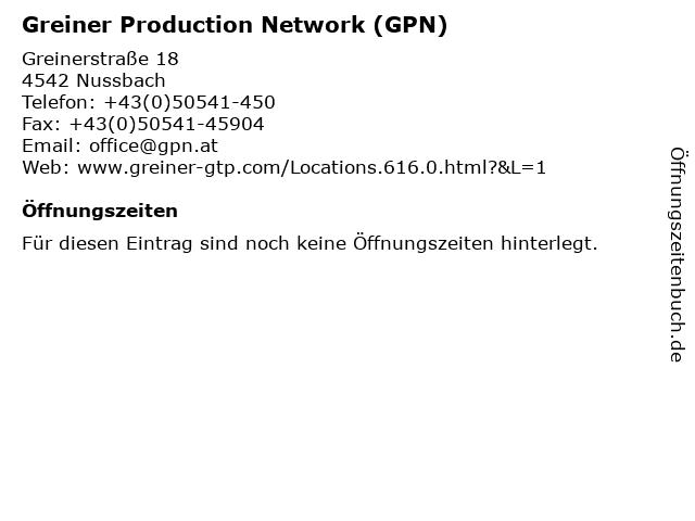 Greiner Production Network (GPN) in Nussbach: Adresse und Öffnungszeiten