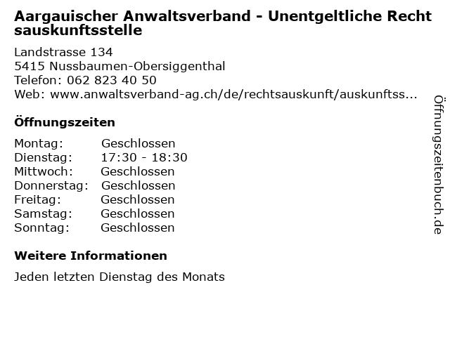 Aargauischer Anwaltsverband - Unentgeltliche Rechtsauskunftsstelle in Nussbaumen-Obersiggenthal: Adresse und Öffnungszeiten