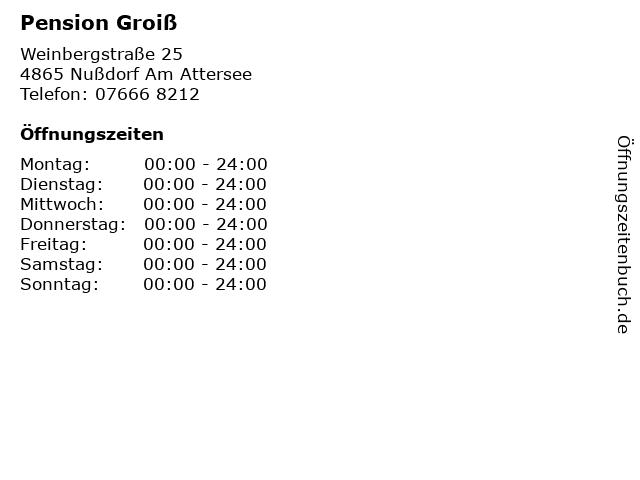 Pension Groiß in Nußdorf Am Attersee: Adresse und Öffnungszeiten