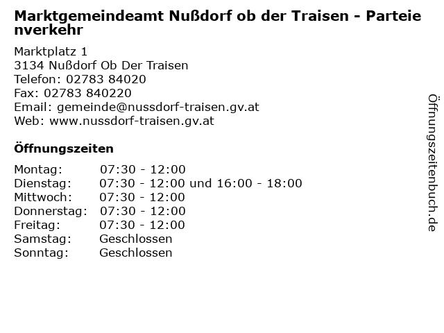 Marktgemeindeamt Nußdorf ob der Traisen - Parteienverkehr in Nußdorf Ob Der Traisen: Adresse und Öffnungszeiten
