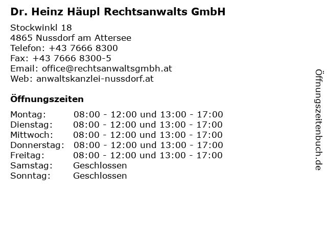 Dr. Heinz Häupl Rechtsanwalts GmbH in Nussdorf am Attersee: Adresse und Öffnungszeiten