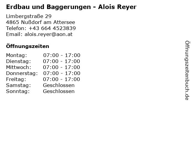 Erdbau und Baggerungen - Alois Reyer in Nußdorf am Attersee: Adresse und Öffnungszeiten