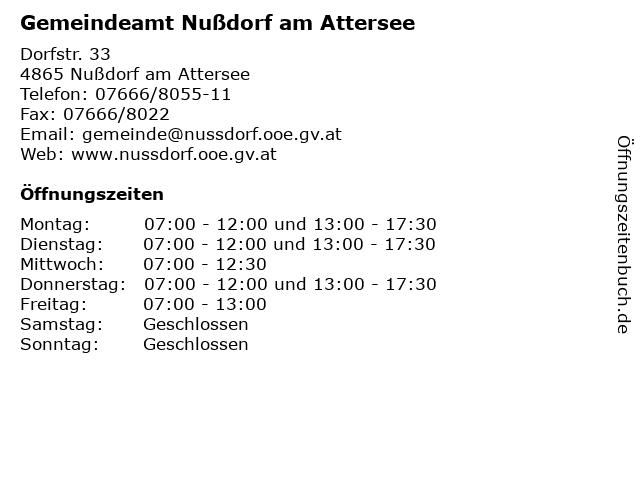 Gemeindeamt Nußdorf am Attersee in Nußdorf am Attersee: Adresse und Öffnungszeiten