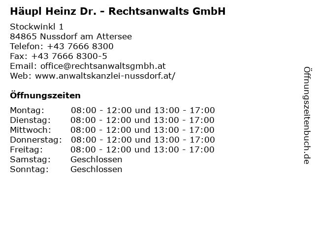Häupl Heinz Dr. - Rechtsanwalts GmbH in Nussdorf am Attersee: Adresse und Öffnungszeiten