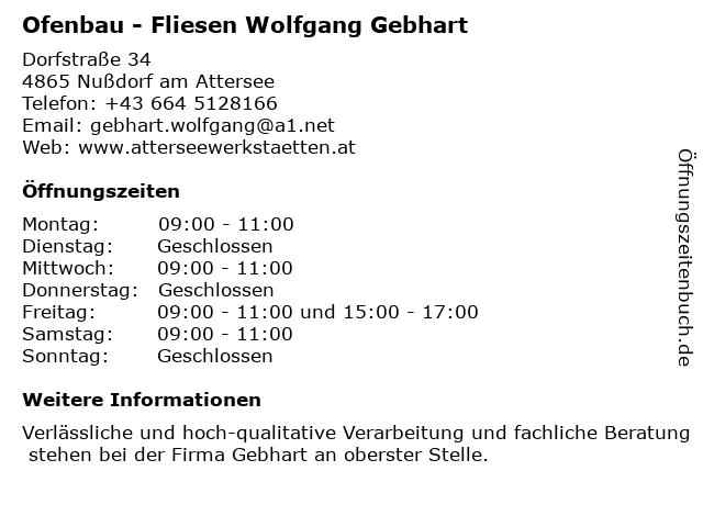 Ofenbau - Fliesen Wolfgang Gebhart in Nußdorf am Attersee: Adresse und Öffnungszeiten