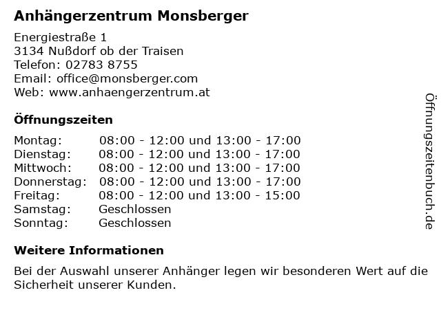 Anhängerzentrum Monsberger in Nußdorf ob der Traisen: Adresse und Öffnungszeiten