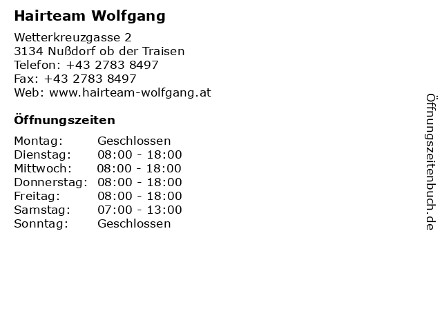 Hairteam Wolfgang in Nußdorf ob der Traisen: Adresse und Öffnungszeiten