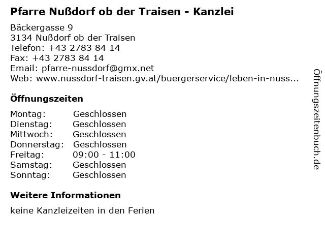 Pfarre Nußdorf ob der Traisen - Kanzlei in Nußdorf ob der Traisen: Adresse und Öffnungszeiten