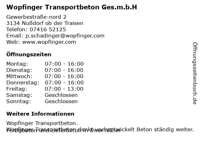 Wopfinger Transportbeton Ges.m.b.H in Nußdorf ob der Traisen: Adresse und Öffnungszeiten