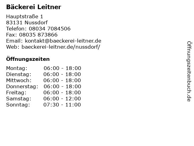 Bäckerei Leitner in Nussdorf: Adresse und Öffnungszeiten