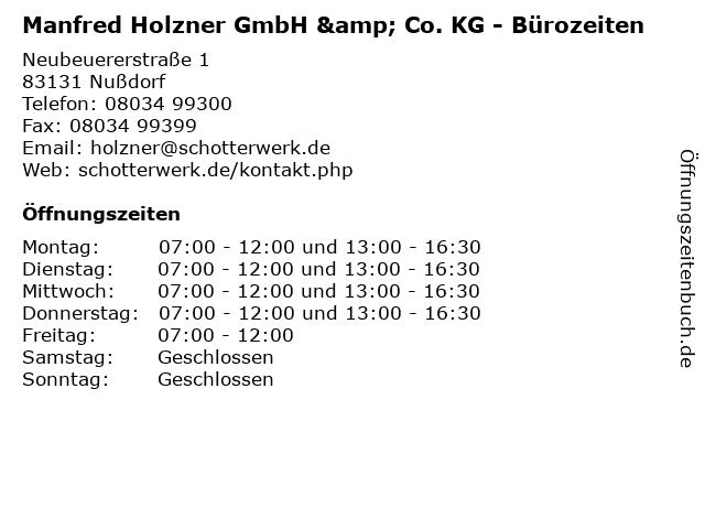 Manfred Holzner GmbH & Co. KG - Bürozeiten in Nußdorf: Adresse und Öffnungszeiten