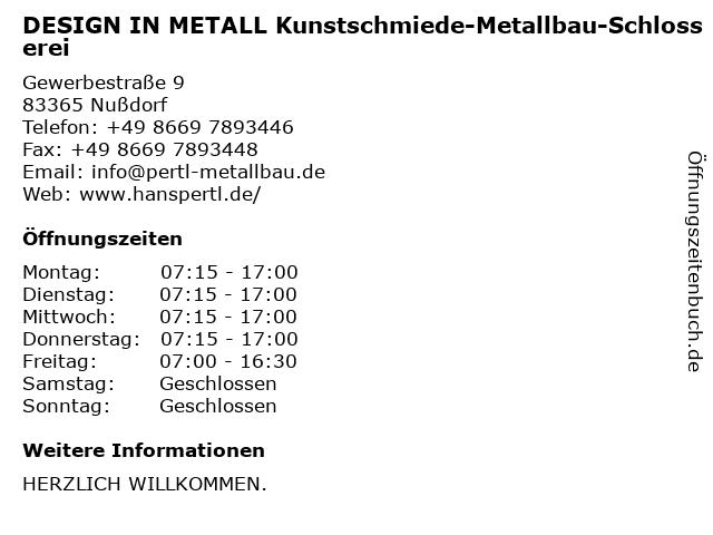 DESIGN IN METALL Kunstschmiede-Metallbau-Schlosserei in Nußdorf: Adresse und Öffnungszeiten
