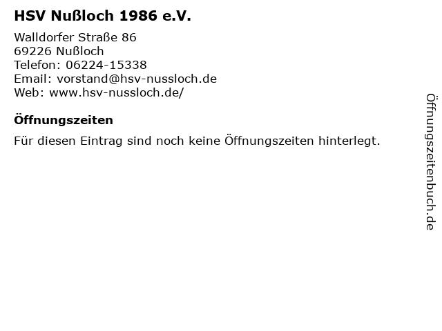 HSV Nußloch 1986 e.V. in Nußloch: Adresse und Öffnungszeiten