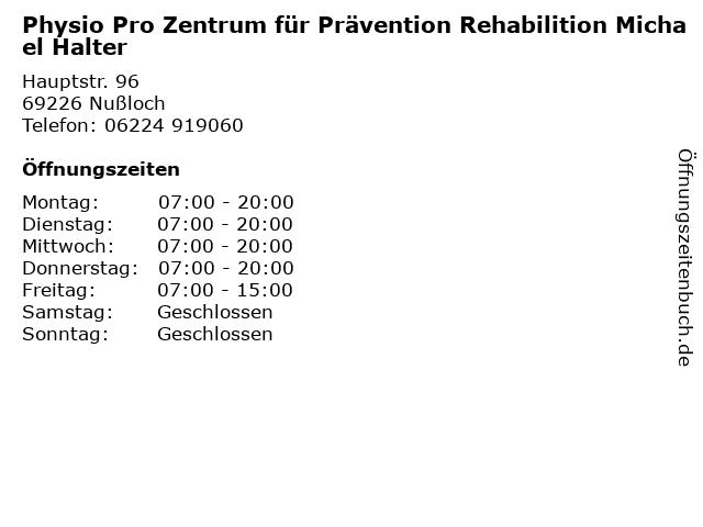 Physio Pro Zentrum für Prävention Rehabilition Michael Halter in Nußloch: Adresse und Öffnungszeiten