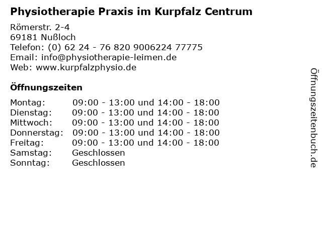 Physiotherapie Praxis im Kurpfalz Centrum in Nußloch: Adresse und Öffnungszeiten