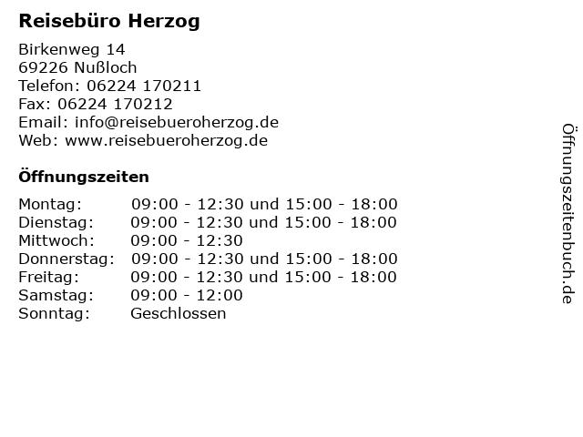 Reisebüro Herzog in Nußloch: Adresse und Öffnungszeiten