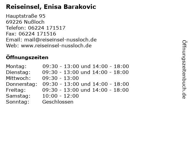 Reiseinsel, Enisa Barakovic in Nußloch: Adresse und Öffnungszeiten
