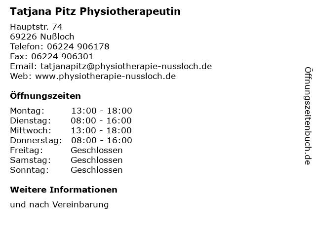 Tatjana Pitz Physiotherapeutin in Nußloch: Adresse und Öffnungszeiten