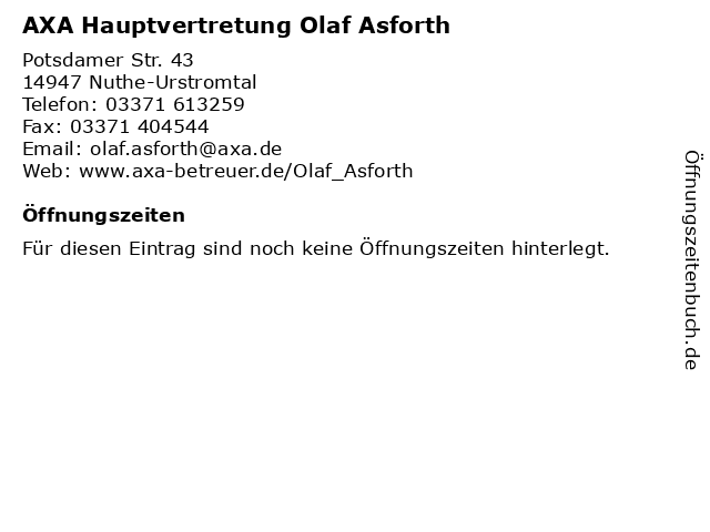 AXA Hauptvertretung Olaf Asforth in Nuthe-Urstromtal: Adresse und Öffnungszeiten
