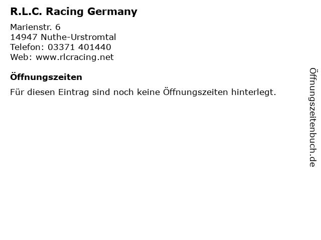 R.L.C. Racing Germany in Nuthe-Urstromtal: Adresse und Öffnungszeiten
