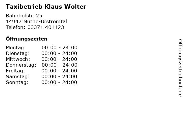 Taxibetrieb Klaus Wolter in Nuthe-Urstromtal: Adresse und Öffnungszeiten
