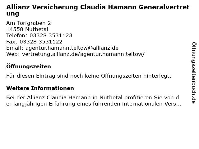 Allianz Vertretung Claudia Hamann in Nuthetal: Adresse und Öffnungszeiten