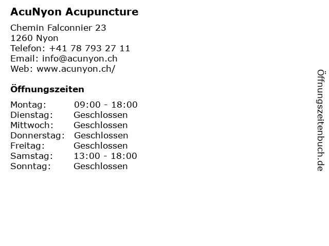 AcuNyon Acupuncture in Nyon: Adresse und Öffnungszeiten