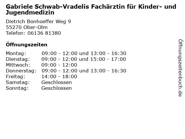 Gabriele Schwab-Vradelis Fachärztin für Kinder- und Jugendmedizin in Ober-Olm: Adresse und Öffnungszeiten