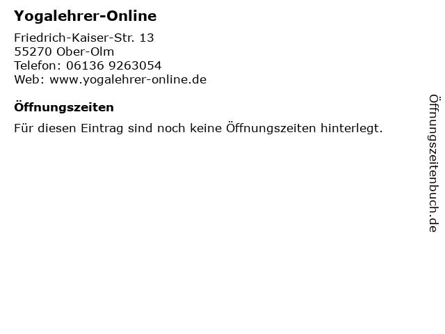 Yogalehrer-Online in Ober-Olm: Adresse und Öffnungszeiten